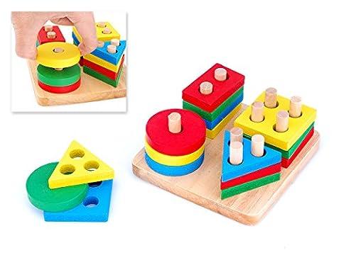 DSstyles Jouets éducatifs colorés en bois forme en bois forme trieuse enfants Puzzles d'apprentissage géométrie jouets pour tout petits enfants Des gamins Développement de l
