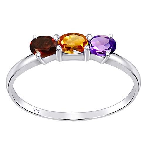 Orchid Jewelry - Anillo de plata de ley para mujer, 0,51 ctw, citrino, amatista y granate