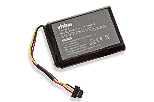 vhbw Li-Ion Akku 1100mAh (3.7V) für Navi GPS TomTom Quanta, XL IQ...