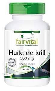 Huile de krill de l'antarctique 500 mg - Euphausia superba, riche en acides aminés Oméga-3, EPA, DHA et en astaxanthine - 90 Licaps®