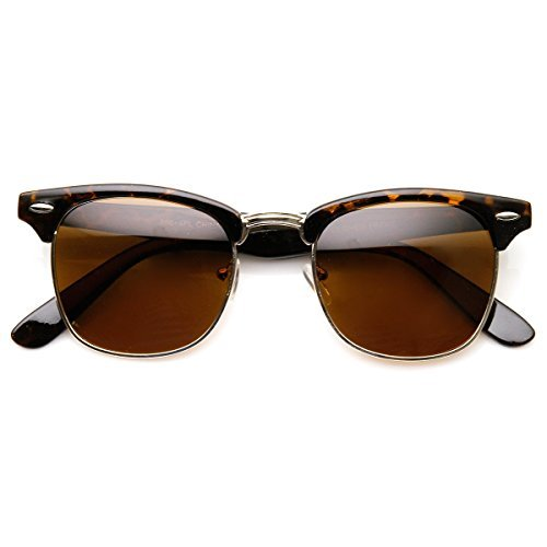 zeroUV - Polarized Classic Half Frame Semi-Rimless Horn Rimmed Sunglasses (Polarized | Tortoise/Brown)