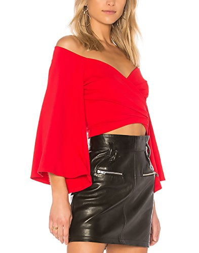 Lannister Fashion Donna Crop Top Elegante Manica Lunga Maniche Tromba Spalla di Parola Bluse Senza Spalline Senza Schienale Ragazza Magliette Corta Primavera Casual rossi