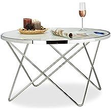 Relaxdays Beistelltisch Glas Large Chrom Milchglas Couchtisch Kaffeetisch Edel Stahl