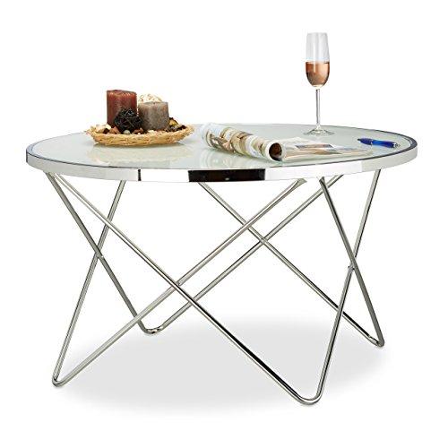 Relaxdays Beistelltisch Glas Large, Chrom, Milchglas, Couchtisch, Kaffeetisch, edel, Stahl HBT: 48 x 85 x 85 cm, silber (Chrom-glas-couchtisch)