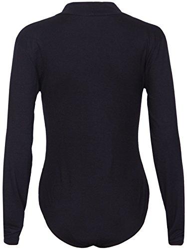 Damen Polo Hoch Rollkragen Damen Langärmlig Stretch Druckknopf Druckknopfverschluss Turnzug Bodysuit T-Shirt Top Schwarz