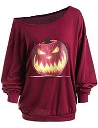 Innerternet Halloween Party Kostüme Bluse Pullover Damen Casual Lose Kürbis  Druck Schulterfrei Sweatshirt Lange… 4943fbf8c3