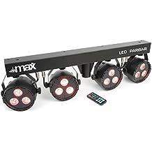 max LED PAR-Bar Set luces fiestas eventos de 4 vías • Kit 3 x 4 en 1 LED RGBW • Incluye barra T y soporte • Control por 6 canales DMX • Modo automático • Control por música • Altura regulable • Modo Stand Alone • Shows programados
