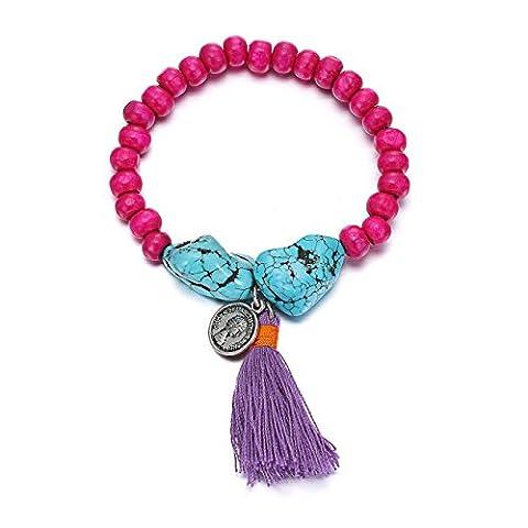 eManco Gypsy Pink Fuchsia Wood Bead Bracelet Tassel Turquoise Coin Charms for Women Jewellery
