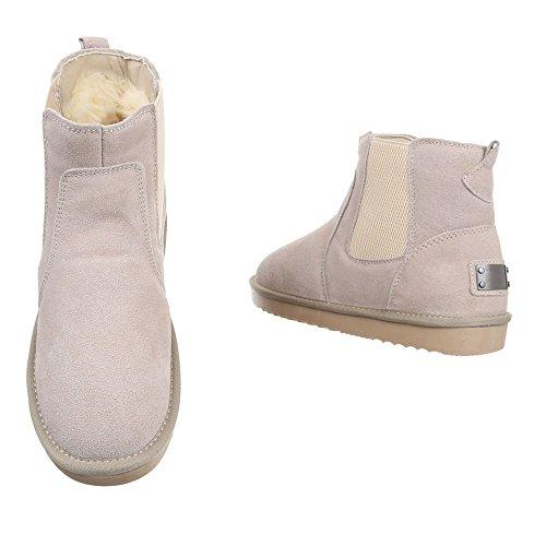 Damen Boots Schuhe Echtleder Stiefeletten Dunkelgrau Beige 36 37 38 39 40 41 Beige