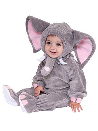 Grau Elefant Tier Baby Kostüm 3-24m Long Sleeve Flanell ONE PIECE BABY Kleidung Baby Strampler (Elefant Kostüm 18 Monate)