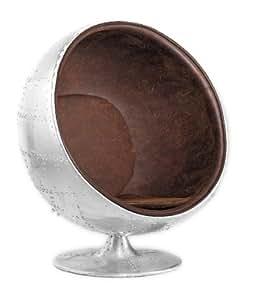 Fauteuil Boule Ball Chair AVIATOR VINTAGE Aluminium Clouté
