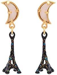 ab76a5238cdd HLII Aretes de Mujeres Esmalte vidriado 925 Silver Needle Torre Eiffel aretes  Joyería