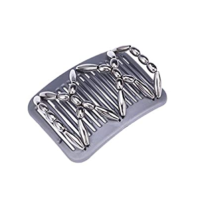 Holzperlen Haarkamm Silber Vintage