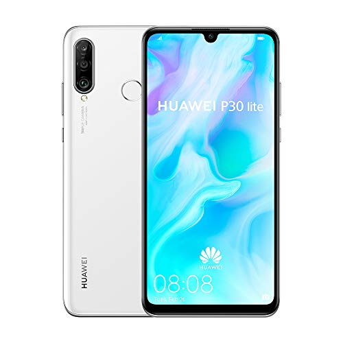 Huawei P30 Lite 128 GB 6.15 Inch FHD+ Dewdrop Display Smartphone with MP AI Ultra-wide Triple Camera, 4 GB RAM, Android 9.0 Sim-Free Mobile Phone, Single SIM, UK Version, White Best Price and Cheapest