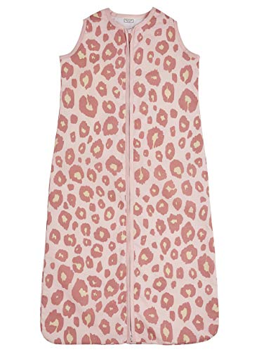 Meyco 410954 Sommer Schlafsack 70cm ungefüttert 100% Baumwolle 0-6 Monate Motiv PANTER PINK, mehrfarbig
