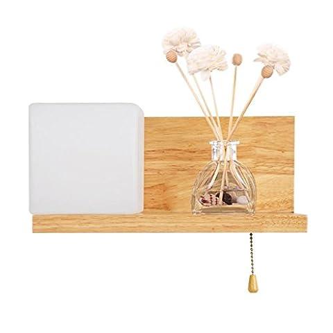 Einfache Massivholz Wandleuchte Schlafzimmer Wohnzimmer Studie Nachttisch Lampe Wand Lampe Energiesparende Led Holz Glas Lampe