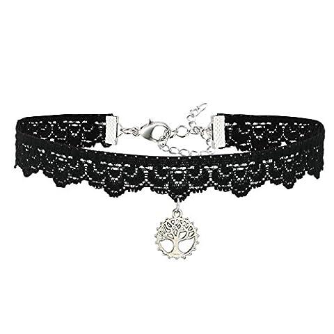 AnaZoz Frauen Choker Halskette Schwarz Samt, Baum des Lebens Anhänger Elastisch Spitze Seidenband Halsband für Damen