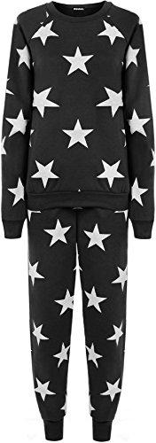 WEARALL Femmes Étoile Imprimer Sweat-Shirt Joggers Survêtement Fixé Dames Jogging Costume - Tenue De Jogging - Femmes - Tailles 36-42 Noir