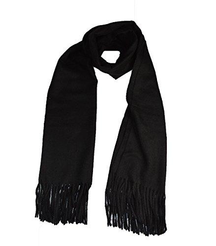 Hochwertiger großer Weiches Echtes Wolle Kaschmir Schal Schwarz Große Herren Schals