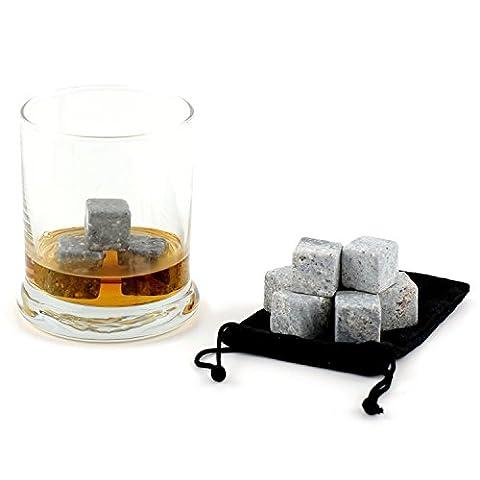 ULTRICS® Premium Whisky Pierres, Ensemble De 12 Roches Glacées Ice Stones Boissons Cooler Cubes Avec Sac à Main Exclusif Set Et Sac En Velours