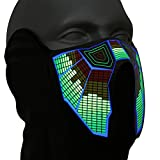 Ucult Soundaktivierte LED Equalizer Maske LED-Maske Festival Rave Maske