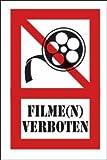 Fotografieren verboten Schild -207s- Filme n verboten, mit 4 Eckenbohrungen (3mm) inkl. 4 Schrauben