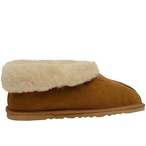Peau de mouton véritable Pantoufle pour Roll up/down manchette Par Bushga (châtaignier, de prune et de vison Gris) Marron - Châtaigne