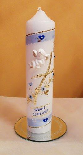 Taufkerze/Kommunionkerze,Konfirmationskerze, Patenkerze mit 3 D Engel inkl.Name,Datum**Junge Mädchen B0776YLQ5K - 2