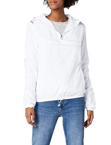Urban Classics Damen Übergangs-Jacke Ladies Basic Pull-Over Jacket ,white ,L Womens Hoodie Sweat