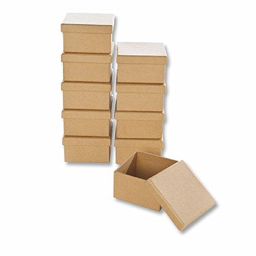 Creleo 790258 Papp-Boxen Eckig Bastelboxen mit Deckel, 10 Stück, 7,5 x 7,5 x 4,5 cm