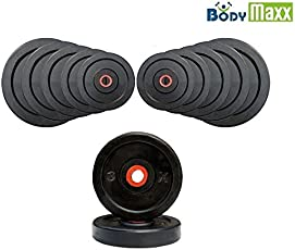 Body Maxx Rubber Weight Plates; Black Exercise & Fitness Rubber Plates Home Gym 4 Kg-20 Kg