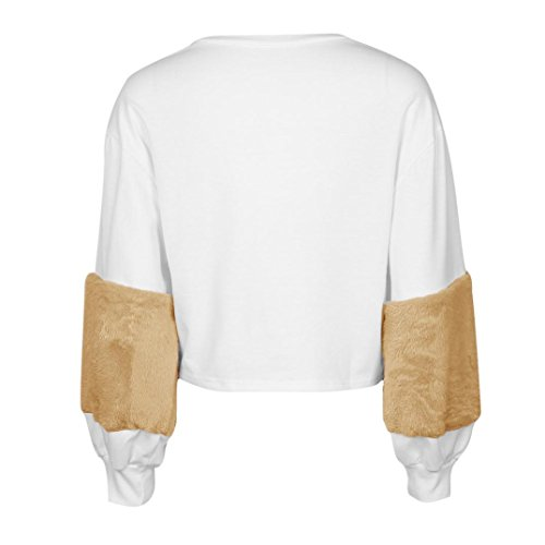ADESHOP Chemise Femme, Femme Blanc Chemisier Femme Patchwork Cachemire Manche Lanterne Pulls Sweat-Shirt Kaki