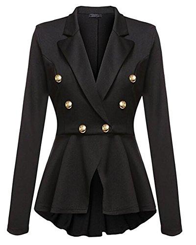 Blazer Jacke Elegant Freizeit Schlank Business Lange Hülse Büro Jacken Knopf Anzug Damen Schwarz M (Ein-knopf-blazer-jacke)