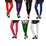 #6: Akaas Women's Cotton Churidaar Legging_Black/Blue/Purple/Pink/Red/Green/White (Pack Of 7)