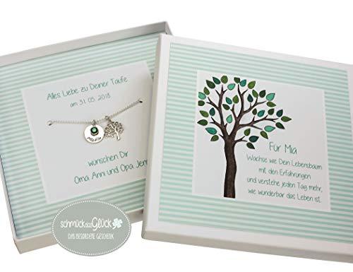Taufkette Junge Mädchen Baum Lebensbaum Silber 925 mit Gravur Geburtsstein und Geschenkbox Patengeschenk Schmuck Geschenk Kette Taufe Kommunion Geburt HANDMADE IN GERMANY