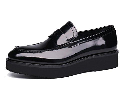 Scarpe Uomo in Pelle Scarpe da uomo in pelle Scarpe casual da lavoro Stile britannico a punta spessa Bottom Altezza scarpe singole ( Colore : Chiaretto , dimensioni : EU39/UK6 ) Nero