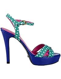 Details zu Buffalo Damen Sandaletten High Heel Sandalen Nubuck Leder Türkis Blau ZS 3085