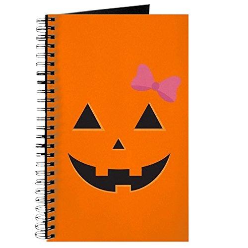 CafePress-Kürbis Gesicht rosa Schleife-Spiralbindung Journal Notizbuch, persönliches Tagebuch, blanko