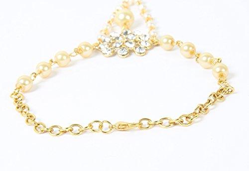 Hand Panja Indian Jewellery Bollywood Kundan Hand Chain Party Wear Pearl Bracelet Stone Panja - Left & Right Hand (HP-102)
