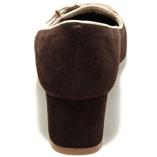 89706 decollete TOD'S PIPING GOMMA TACCO 50 OY FIBBIETTA scarpa donna shoes wome testa di moro