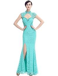 5e1e3b724 Vestidos de encaje abierta del lado del cuello alto de Corte Sirena de noche  sin mangas