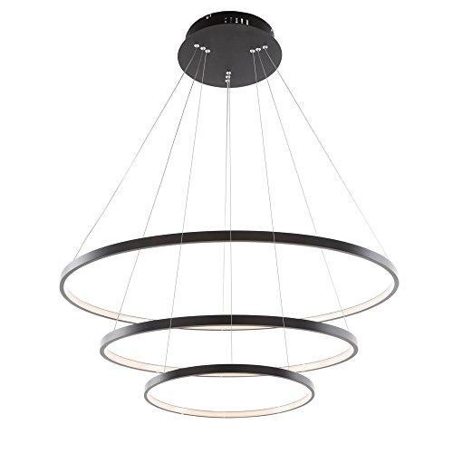 90W LED Modern Acryl Pendelleuchte Deckenlampe Kreative Kronleuchter Lüster SMD-Lampe Perlen Hängeleuchte, Schwarz (90W Warmweiß Drei Ringe)