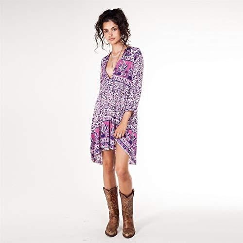 Rocke Frauen Mädchen Floral Bedruckte Bule Pink V-Ausschnitt High Waistline Dreiviertel-Ärmel Bohemia Beach Hiloiday Kleid tragen für (Farbe : Pink, Size : M) -