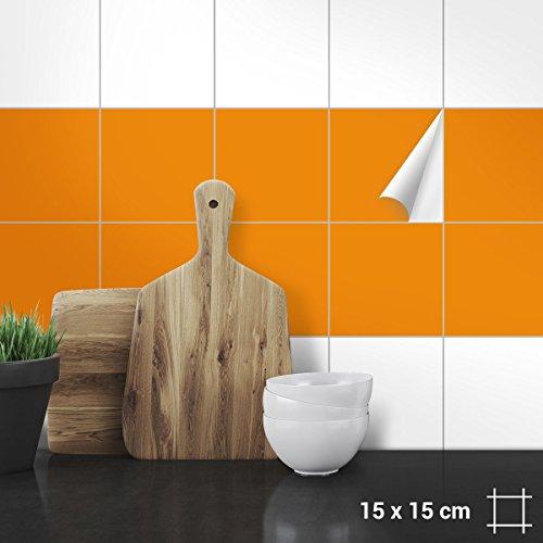 Wandkings Fliesenaufkleber - Wähle eine Farbe & Größe - Orange Seidenmatt - 15 x 15 cm - 20 Stück für Fliesen in Küche, Bad & mehr