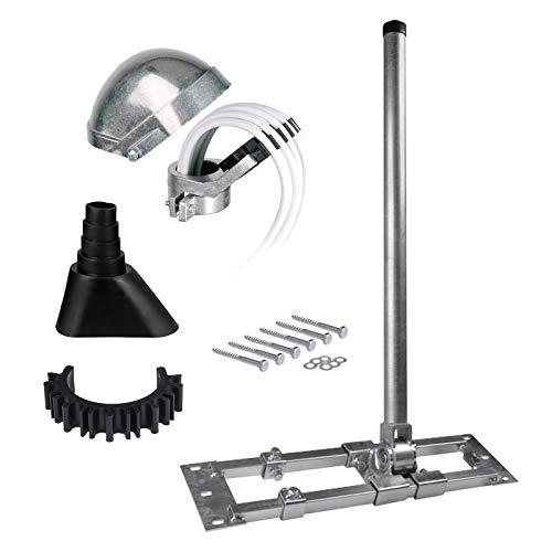 HB-DIGITAL Set: Dachsparrenhalter Herkules 48/1300 s48/130, Ø 48mm 1,3m + Alumastkappe + Manschette schwarz + Kabelclip + 6X Schrauben