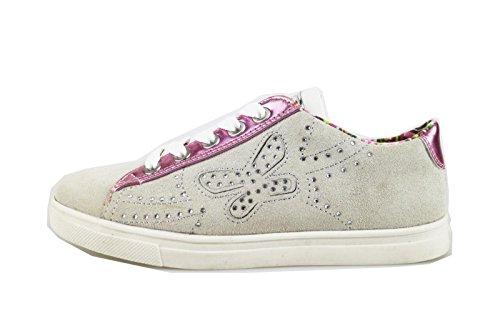 DIDI BLU sneakers bambina 32 EU grigio camoscio rosa pelle AG478