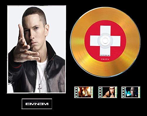 Eminem CD-Display mit Vinyl-Effekt, Schwarz oder goldfarben und 3 Filmzellen, Ungerahmt Layout 1, Gold Disc, Recovery Framed