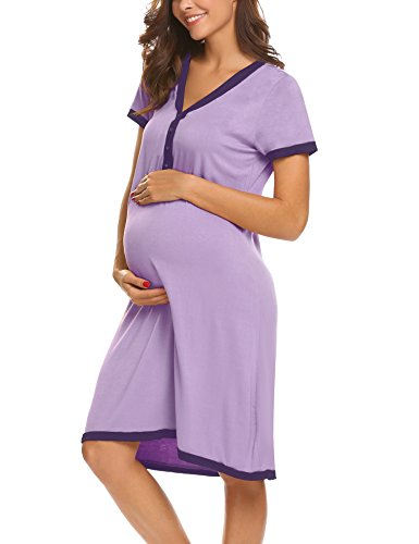 UNibelle Still-Nachthemd für Schwangere Nachthemd-Nachtwäsche zum Stillen