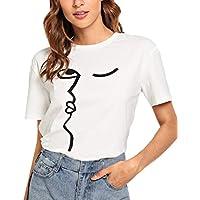 Luckycat Camisetas de Verano para Mujer Impreso Manga Corta Tops Blusa Casual Señoras Camisetas de Algodón