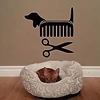 zzlfn3lv Creative Vinyl Wall Art Sticker Pet Shop Pet Grooming Salon Cat Dog Scissors Comb Wall Decals Decoration 56 * 56CM